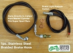 Honda CB360 / CB450 1-Piece Stainless Steel Brake Line