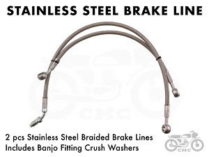 Honda CB360 Stainless Steel 2pc Brake Lines